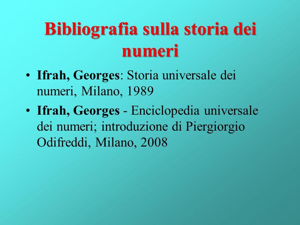 Bibliografia sulla storia dei numeri
