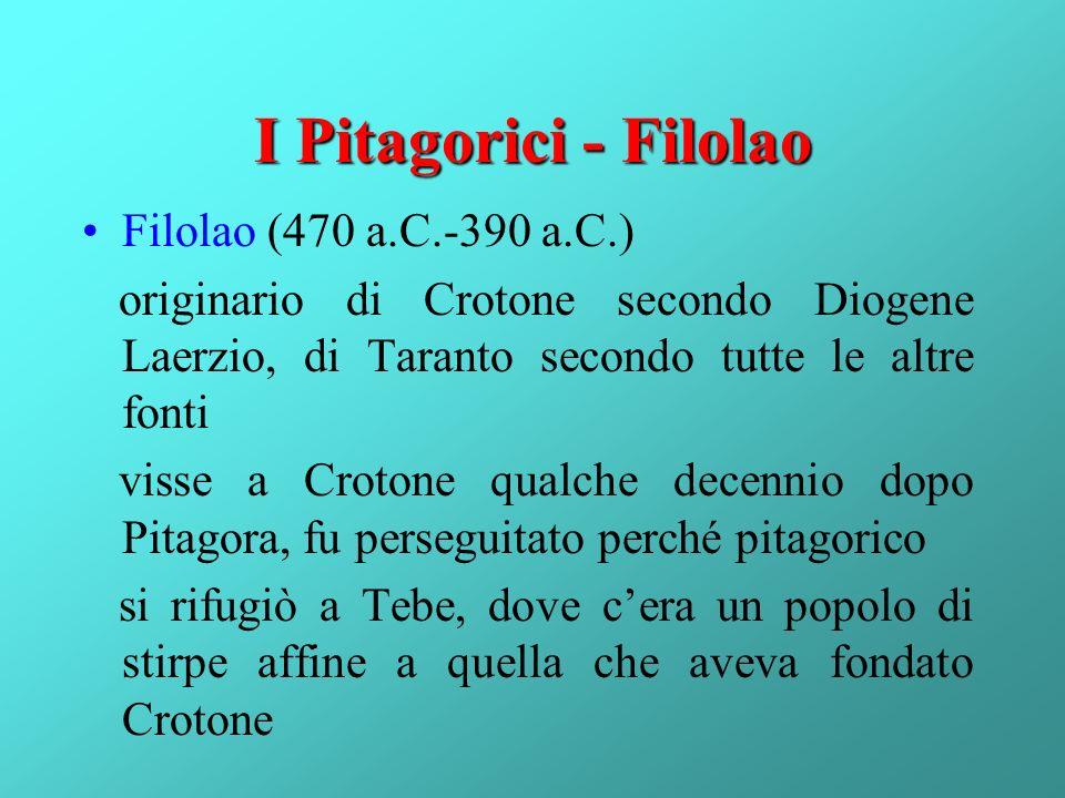 I Pitagorici - Filolao Filolao (470 a.C.-390 a.C.)