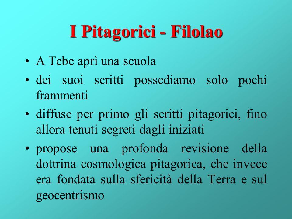 I Pitagorici - Filolao A Tebe aprì una scuola