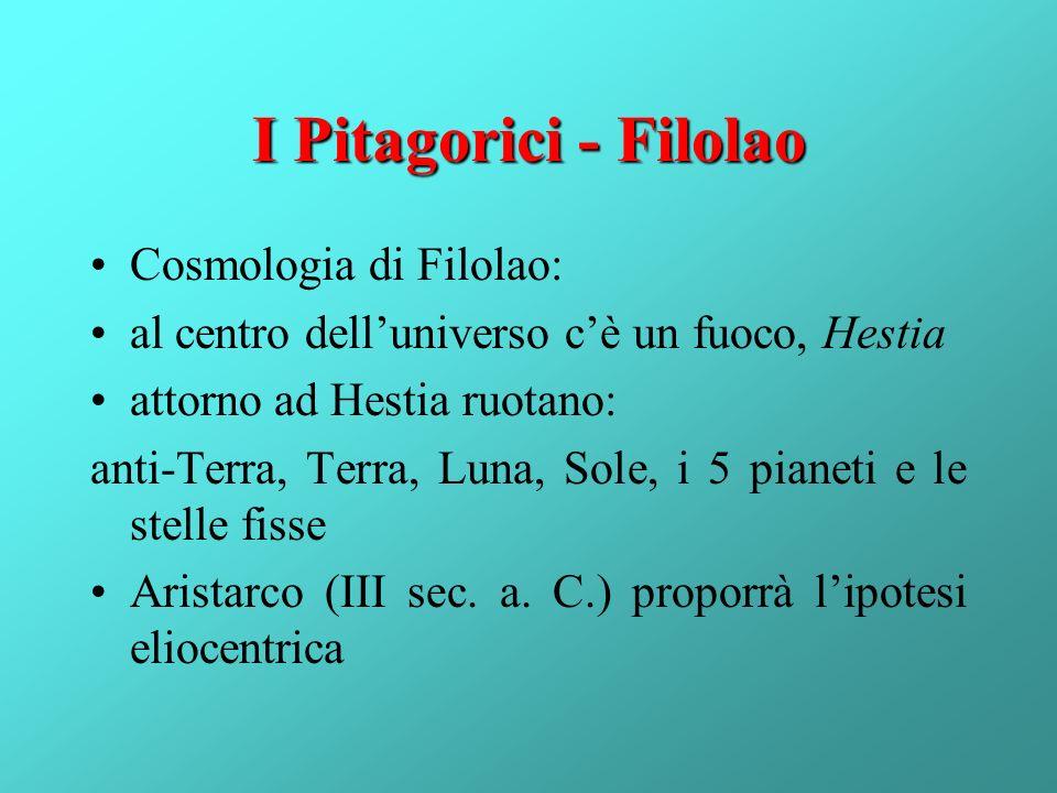I Pitagorici - Filolao Cosmologia di Filolao: