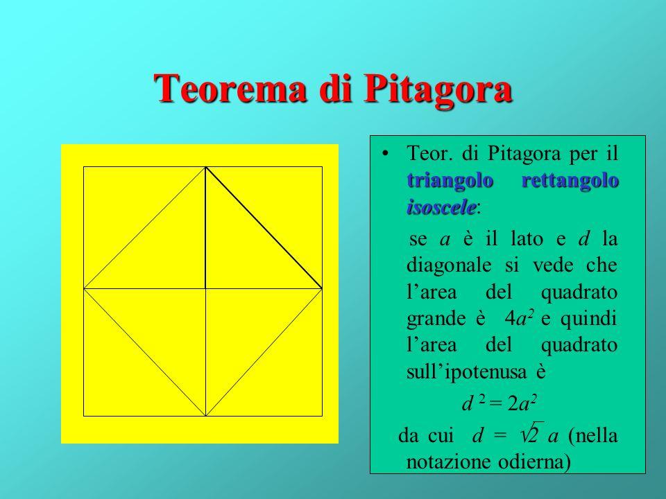 Teorema di Pitagora Teor. di Pitagora per il triangolo rettangolo isoscele:
