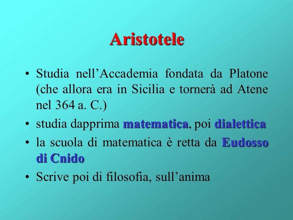 Aristotele Studia nell'Accademia fondata da Platone (che allora era in Sicilia e tornerà ad Atene nel 364 a. C.)