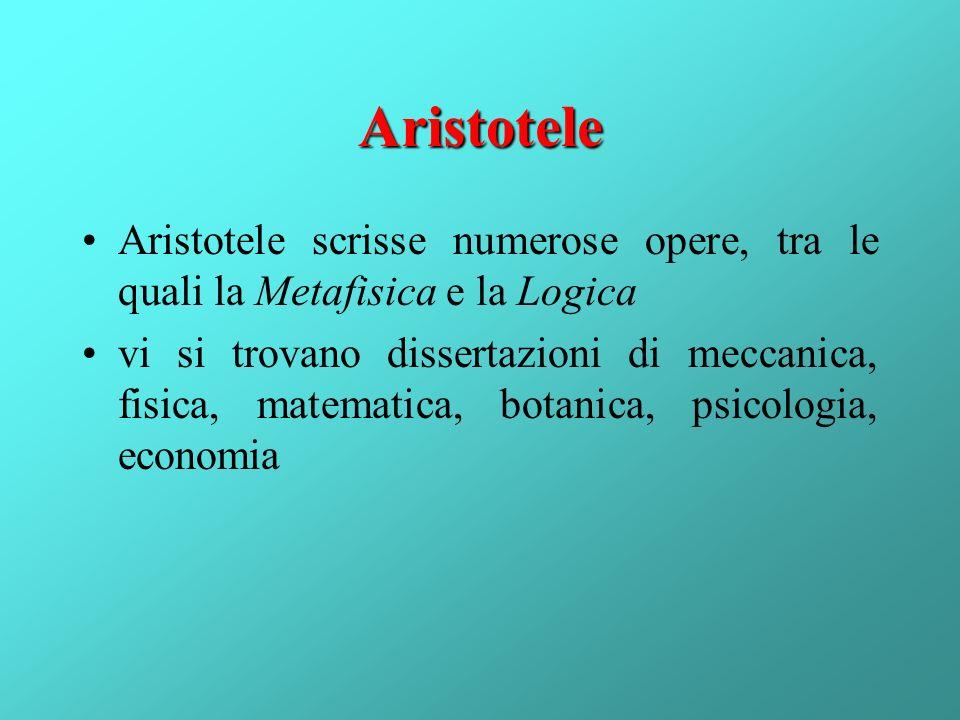 Aristotele Aristotele scrisse numerose opere, tra le quali la Metafisica e la Logica.
