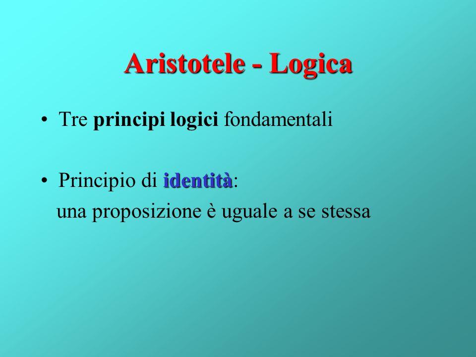 Aristotele - Logica Tre principi logici fondamentali