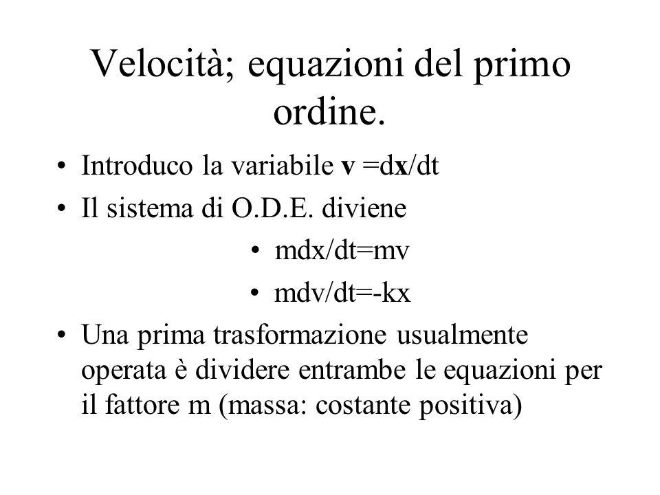 Velocità; equazioni del primo ordine.