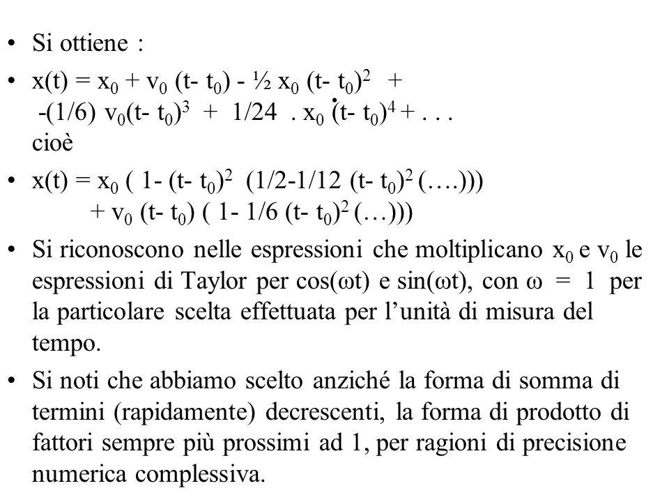 Si ottiene : x(t) = x0 + v0 (t- t0) - ½ x0 (t- t0)2 + -(1/6) v0(t- t0)3 + 1/24 . x0 (t- t0)4 + . . . cioè.