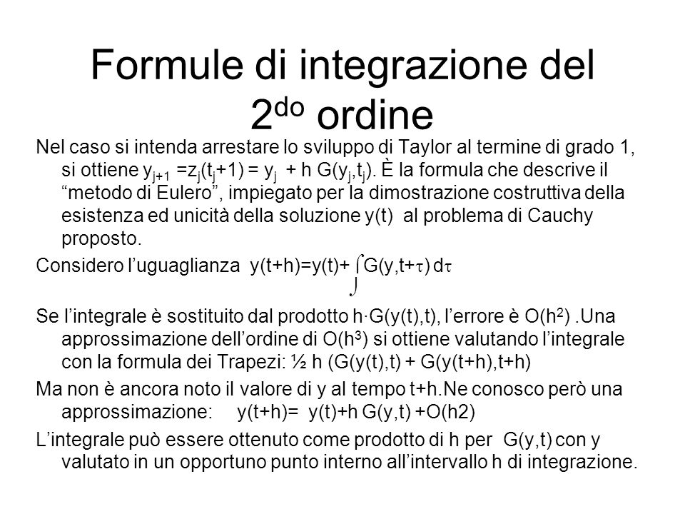 Formule di integrazione del 2do ordine