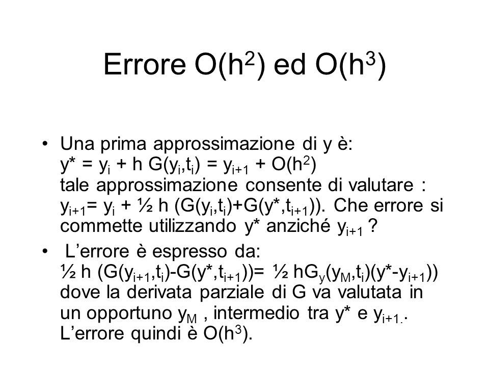 Errore O(h2) ed O(h3)