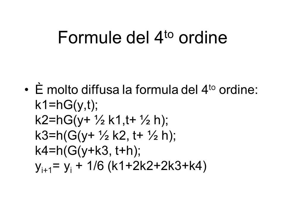 Formule del 4to ordine