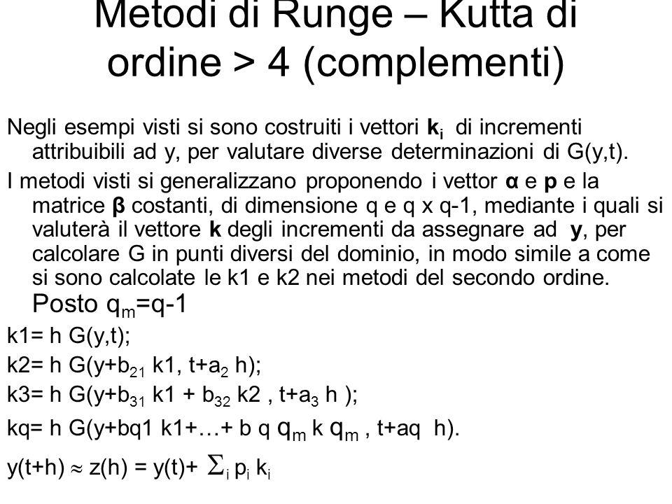 Metodi di Runge – Kutta di ordine > 4 (complementi)