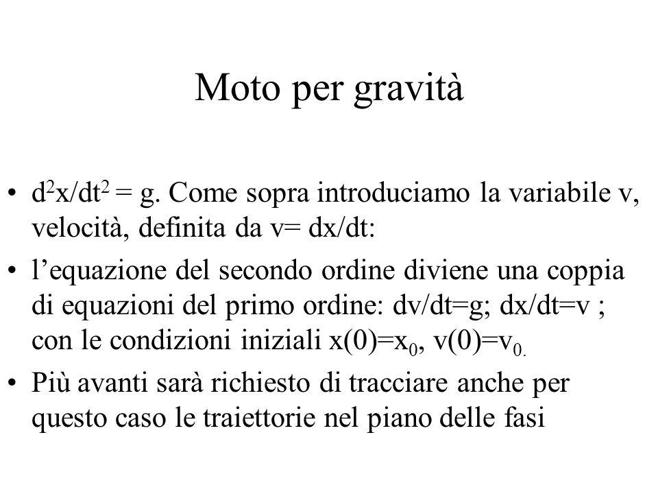 Moto per gravità d2x/dt2 = g. Come sopra introduciamo la variabile v, velocità, definita da v= dx/dt: