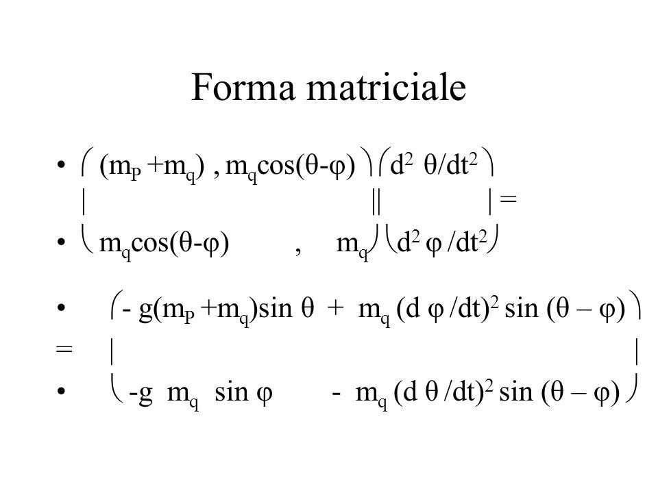 Forma matriciale  (mP +mq) , mqcos(θ-φ)  d2 θ/dt2  | || | =