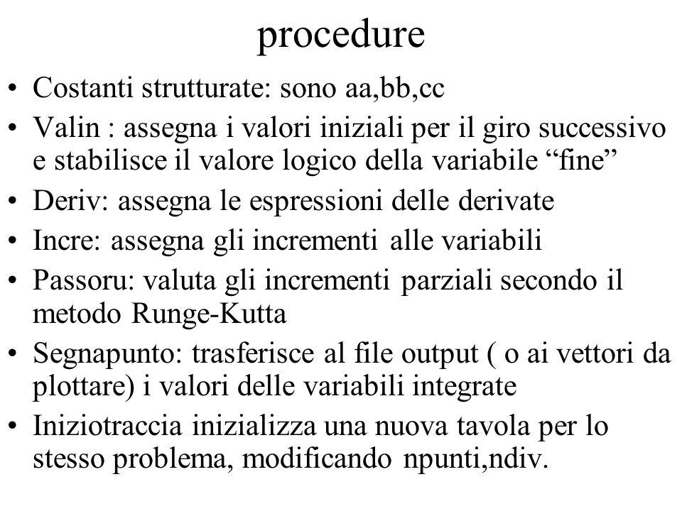 procedure Costanti strutturate: sono aa,bb,cc