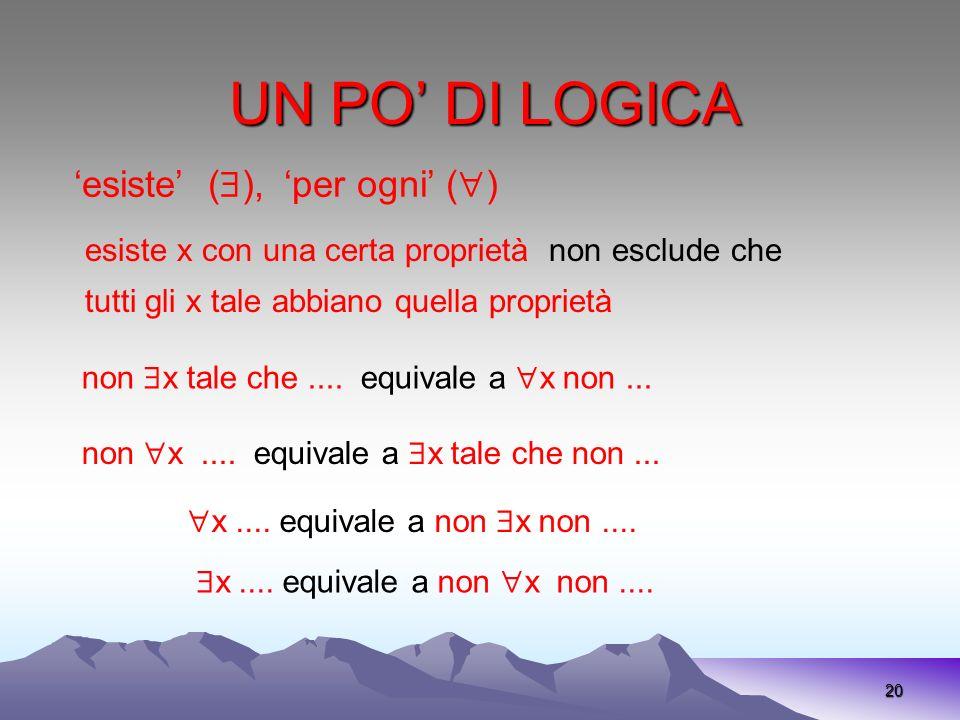 UN PO' DI LOGICA 'esiste' (), 'per ogni' ()