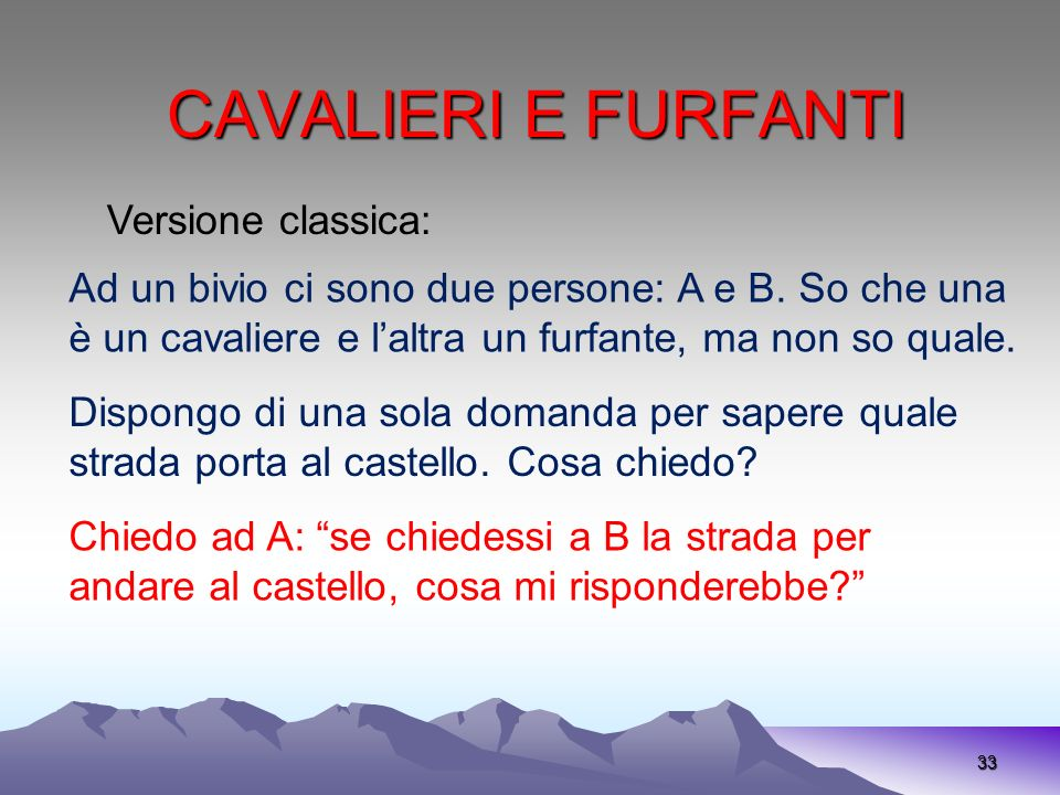 CAVALIERI E FURFANTI Versione classica: