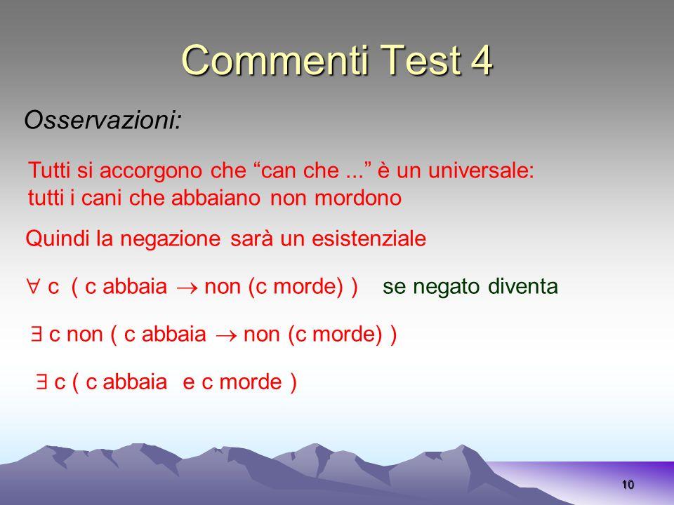 Commenti Test 4 Osservazioni: