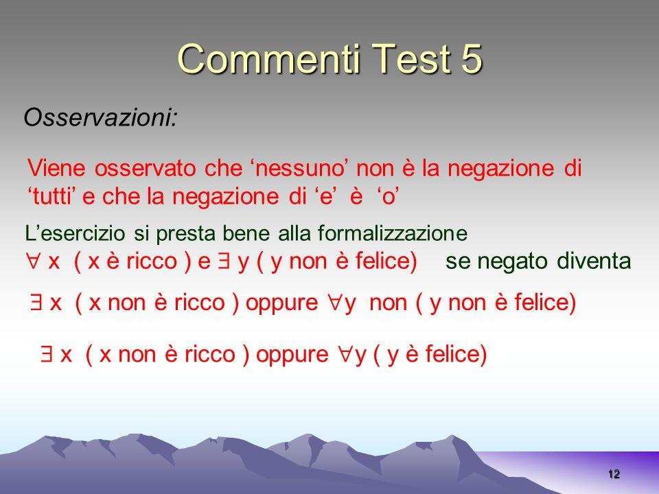Commenti Test 5 Osservazioni: