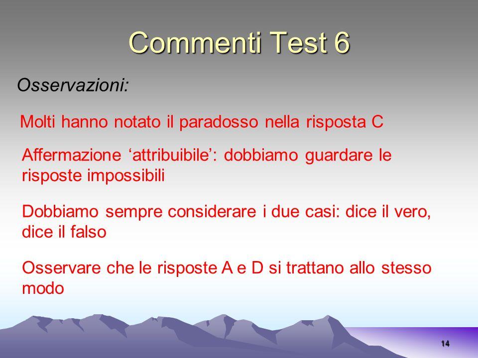 Commenti Test 6 Osservazioni: