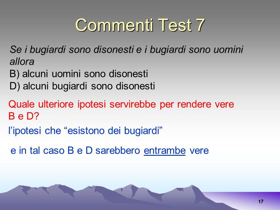 Commenti Test 7 Se i bugiardi sono disonesti e i bugiardi sono uomini allora. B) alcuni uomini sono disonesti.