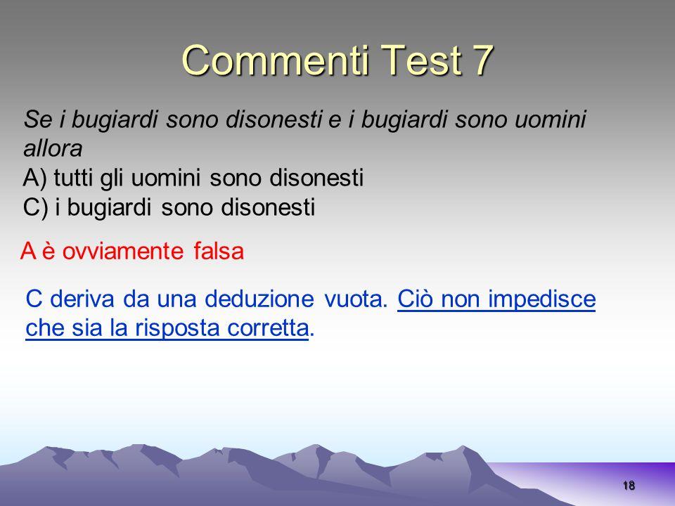 Commenti Test 7 Se i bugiardi sono disonesti e i bugiardi sono uomini allora. A) tutti gli uomini sono disonesti.