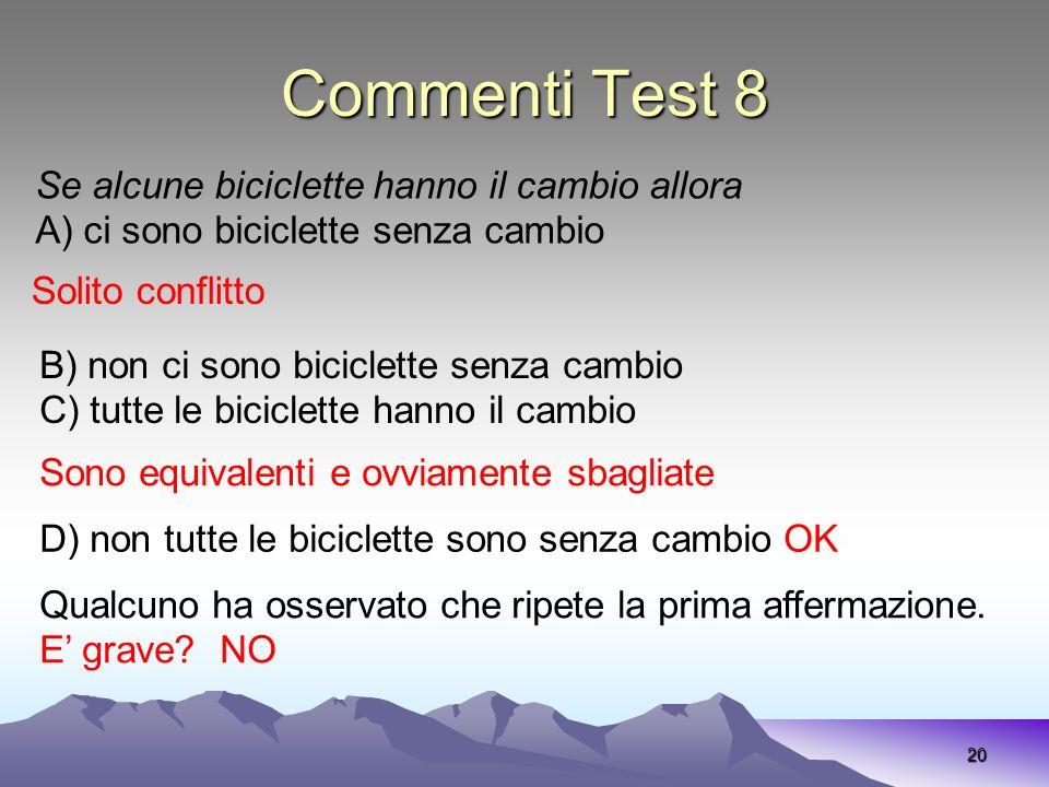 Commenti Test 8 Se alcune biciclette hanno il cambio allora