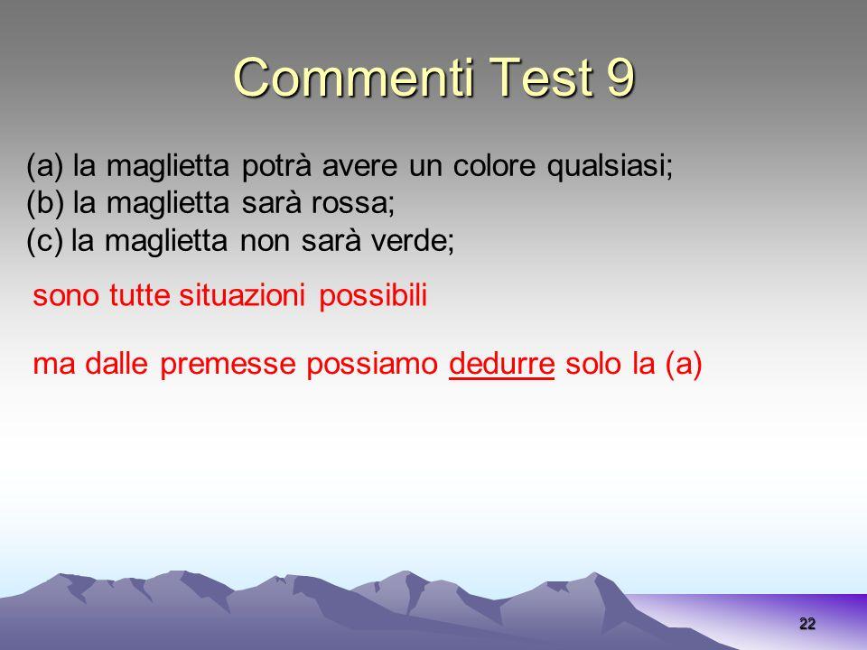 Commenti Test 9 (a) la maglietta potrà avere un colore qualsiasi;