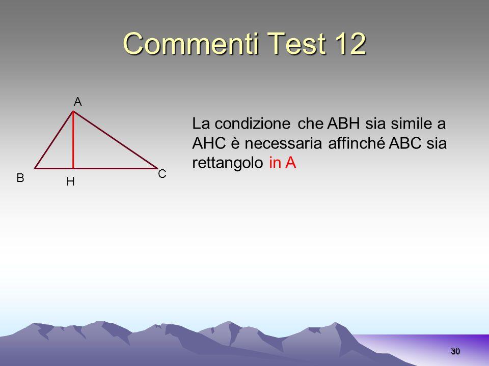Commenti Test 12 A. La condizione che ABH sia simile a AHC è necessaria affinché ABC sia rettangolo in A.