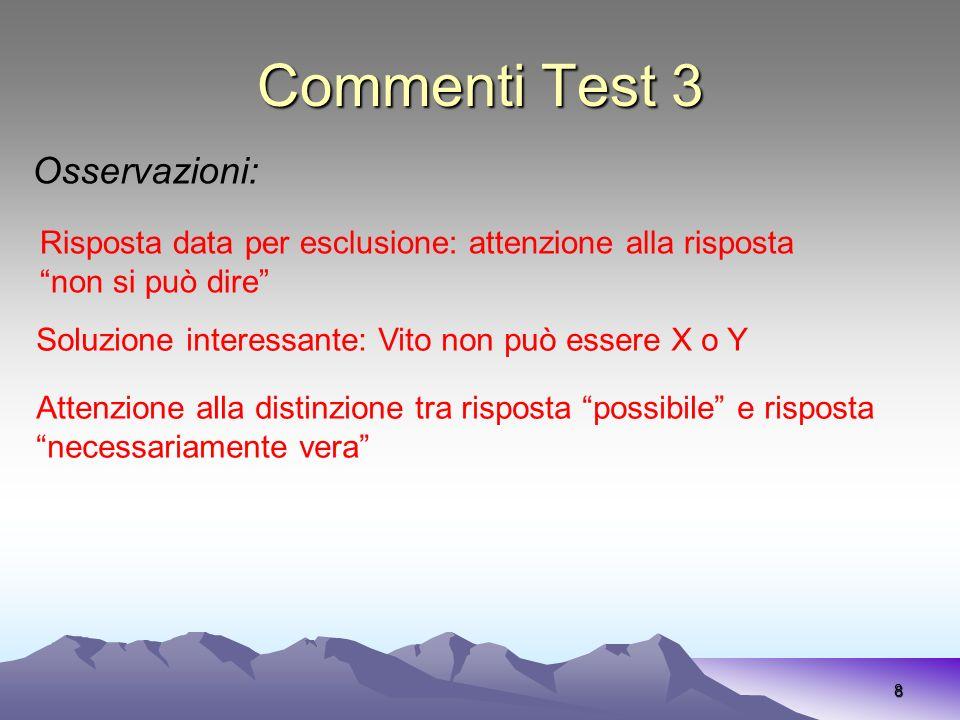 Commenti Test 3 Osservazioni: