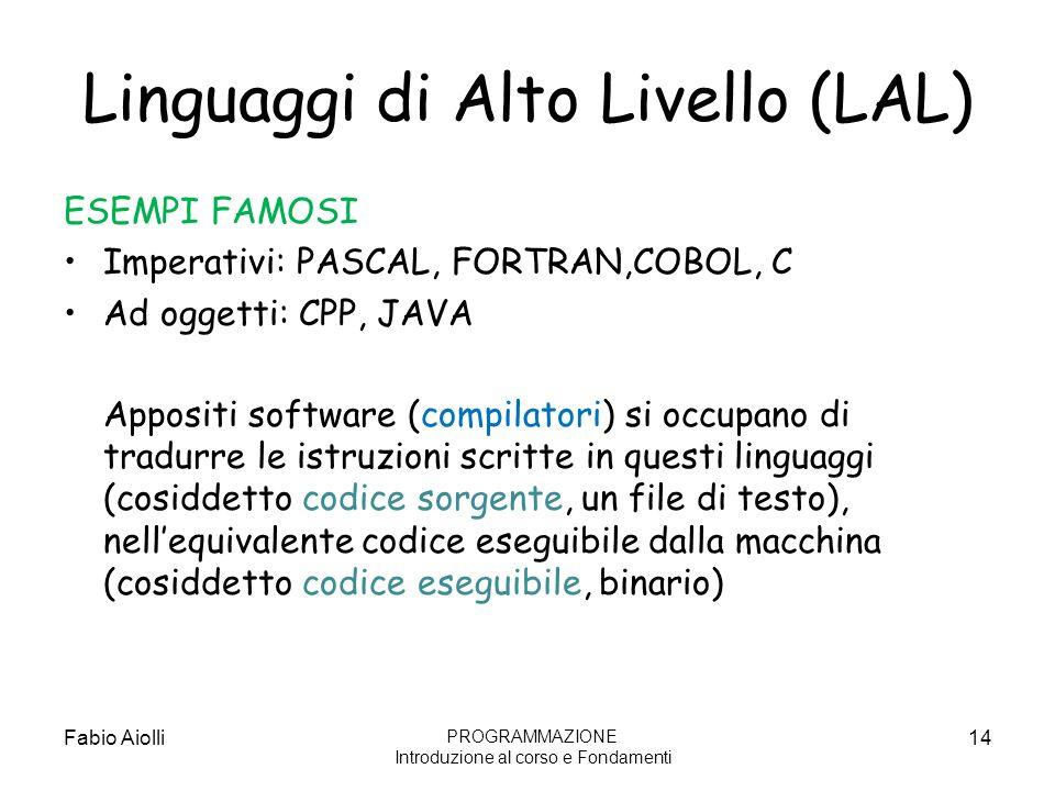 Linguaggi di Alto Livello (LAL)
