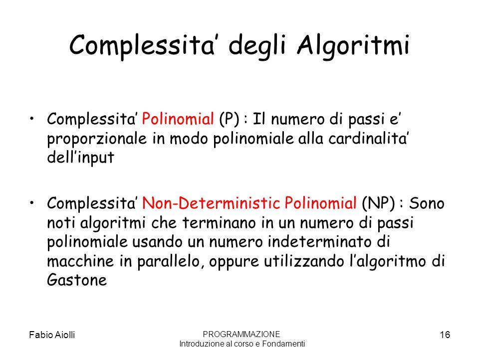 Complessita' degli Algoritmi