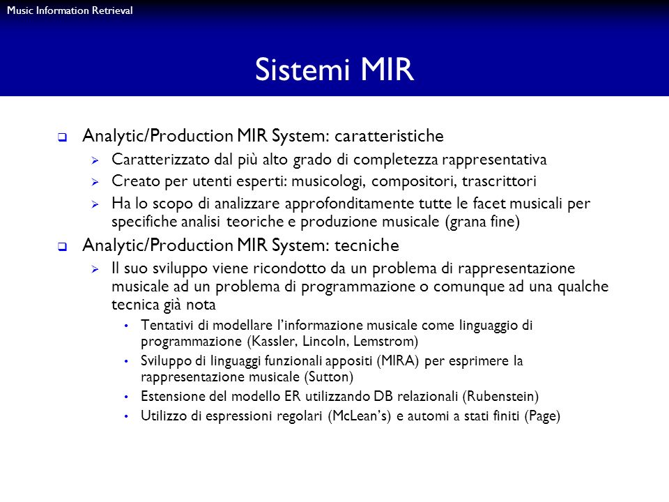 Sistemi MIR Analytic/Production MIR System: caratteristiche
