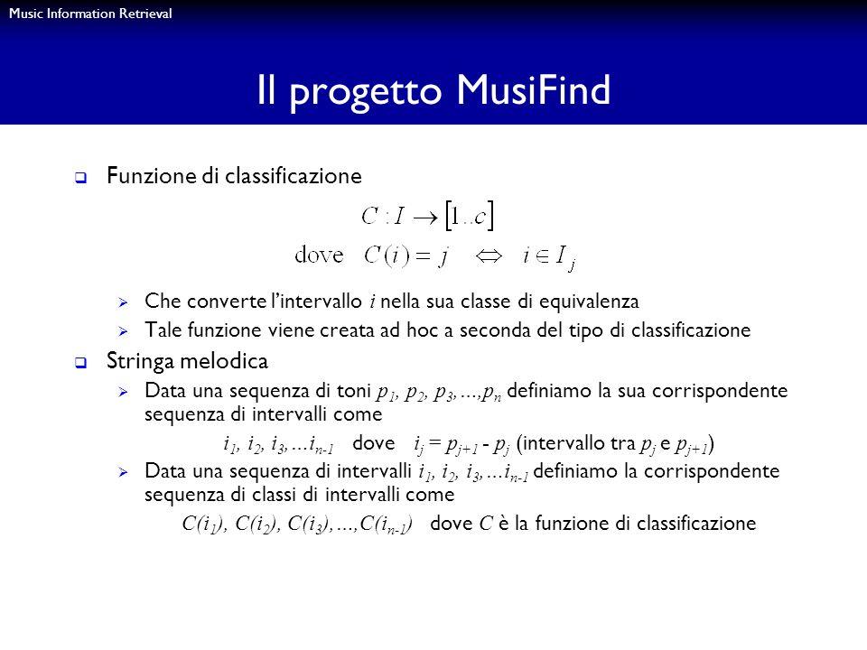 Il progetto MusiFind Funzione di classificazione Stringa melodica