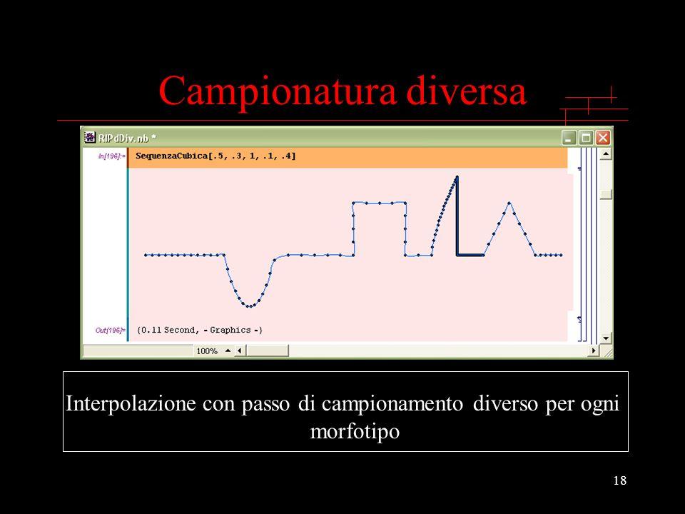 Interpolazione con passo di campionamento diverso per ogni morfotipo