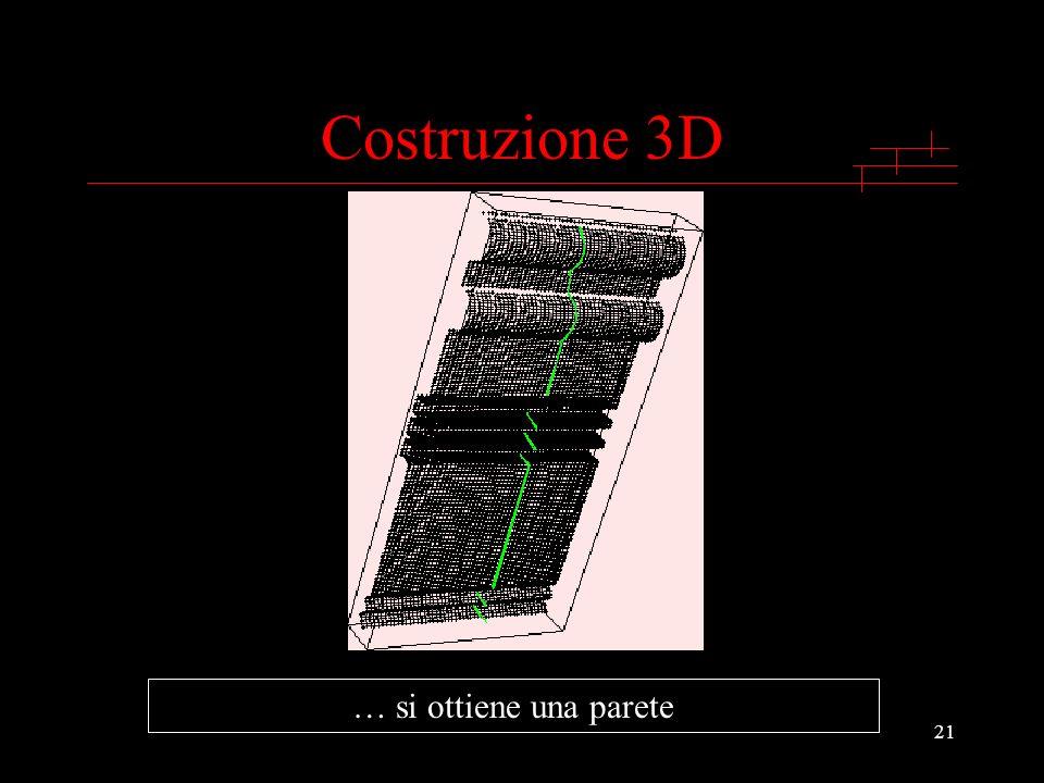 Costruzione 3D … si ottiene una parete