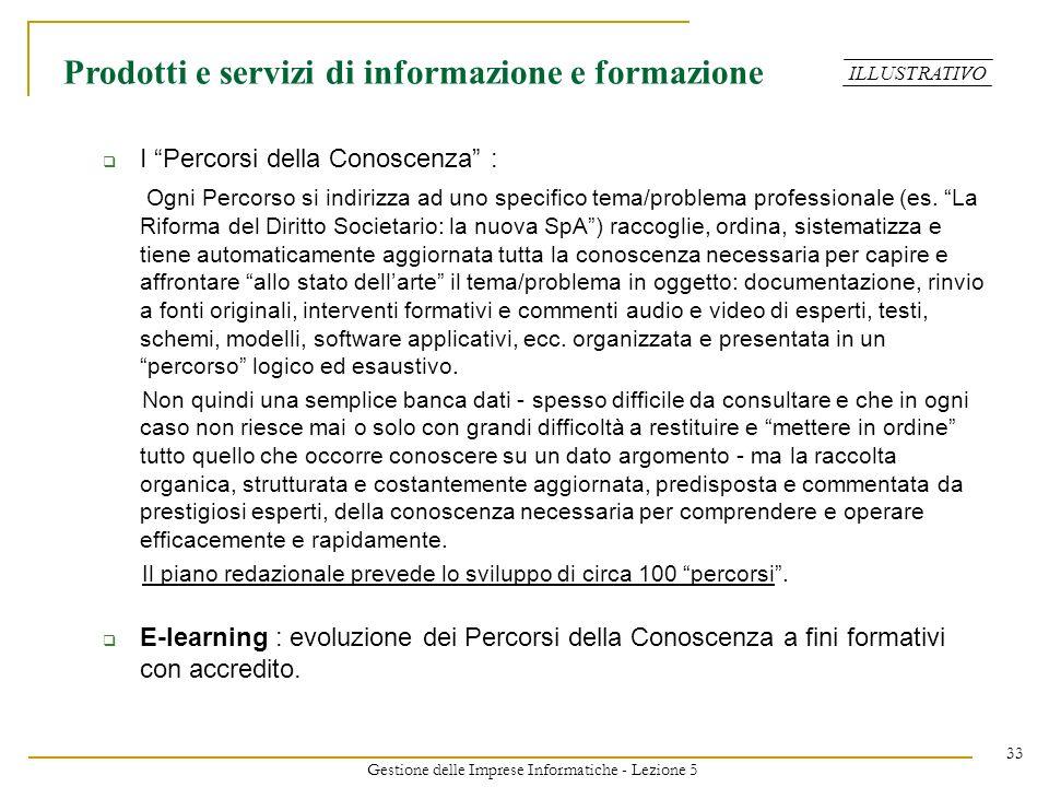 Gestione delle Imprese Informatiche - Lezione 5
