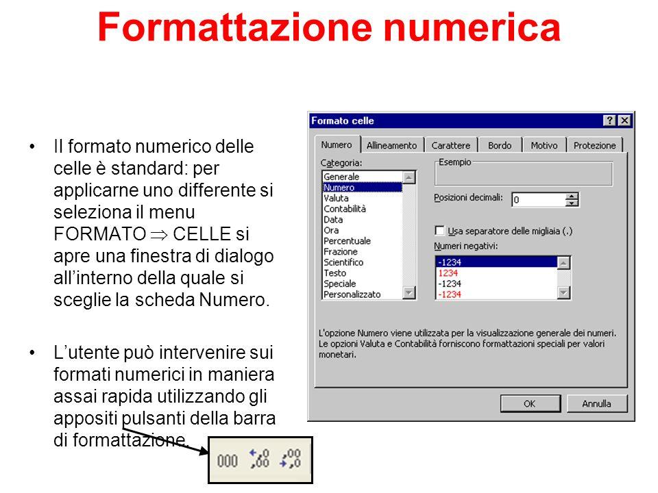 Formattazione numerica