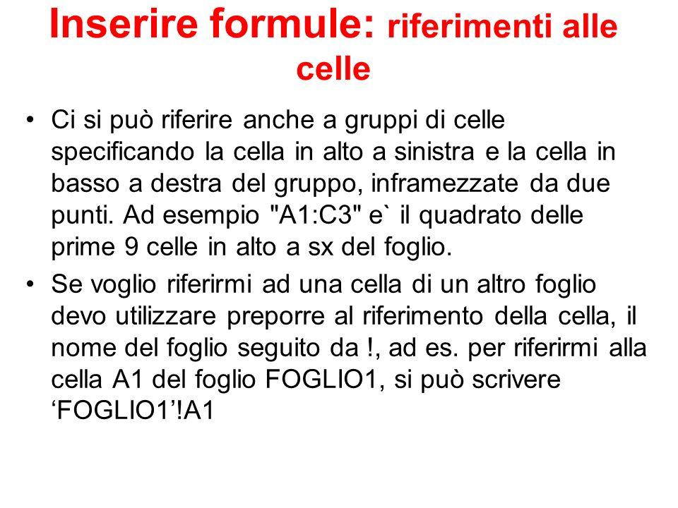 Inserire formule: riferimenti alle celle