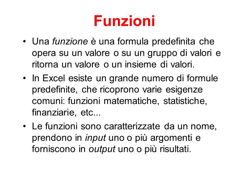 Funzioni Una funzione è una formula predefinita che opera su un valore o su un gruppo di valori e ritorna un valore o un insieme di valori.