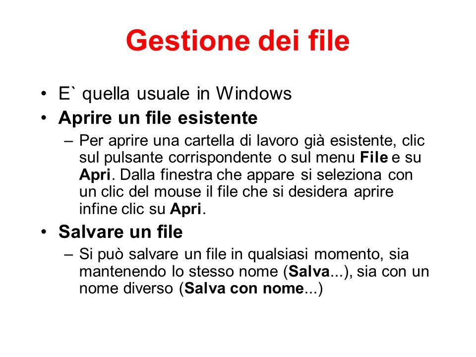 Gestione dei file E` quella usuale in Windows Aprire un file esistente
