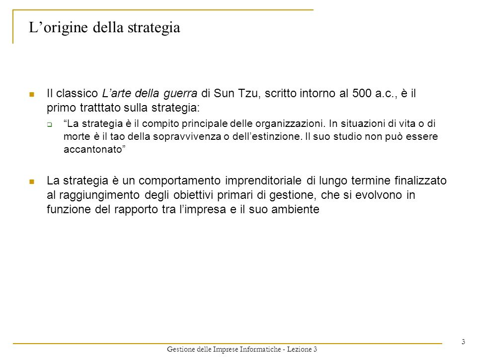 L'origine della strategia