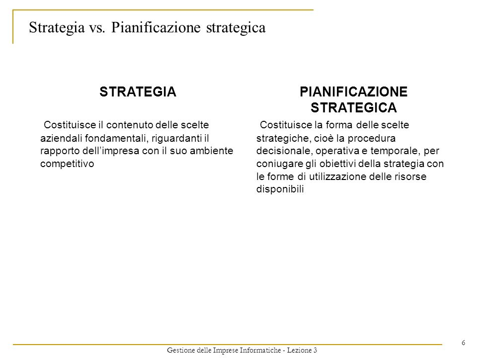 Strategia vs. Pianificazione strategica