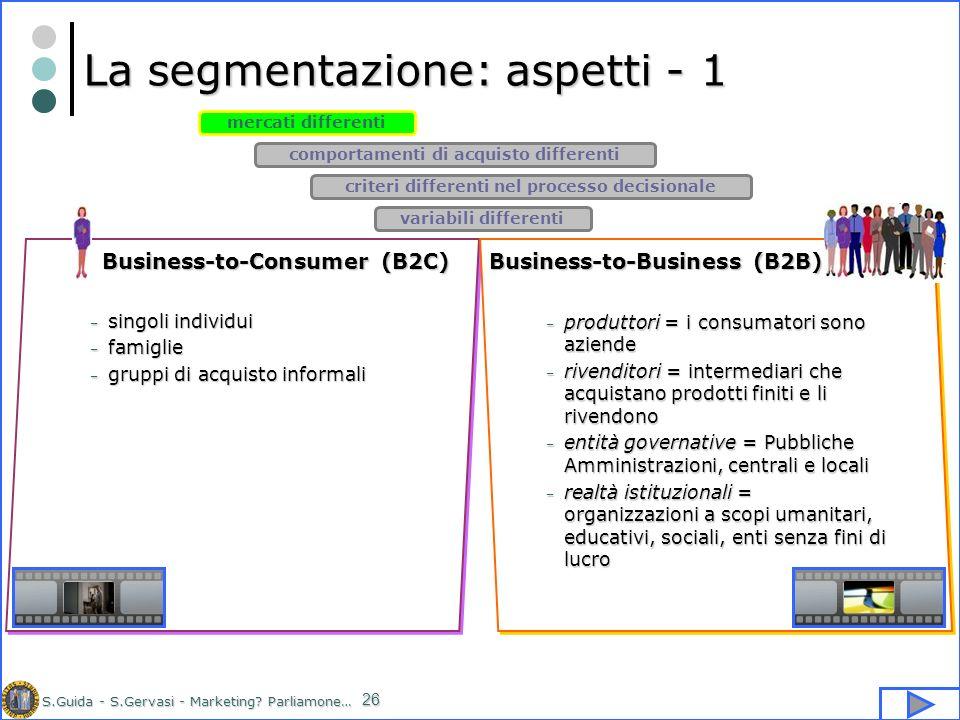 La segmentazione: aspetti - 1