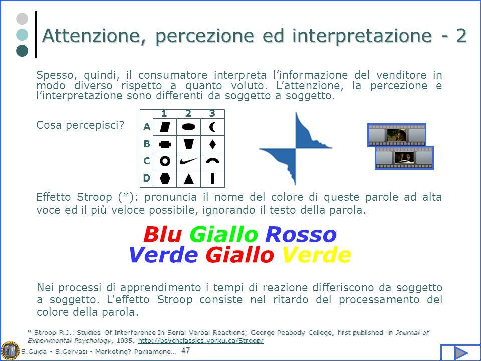 Attenzione, percezione ed interpretazione - 2