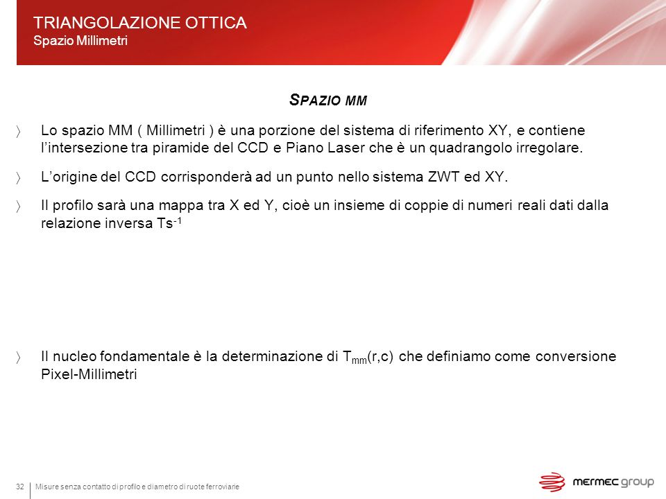 TRIANGOLAZIONE OTTICA Spazio Millimetri