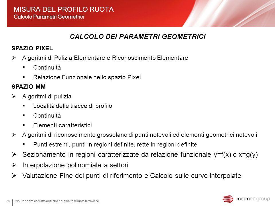MISURA DEL PROFILO RUOTA Calcolo Parametri Geometrici