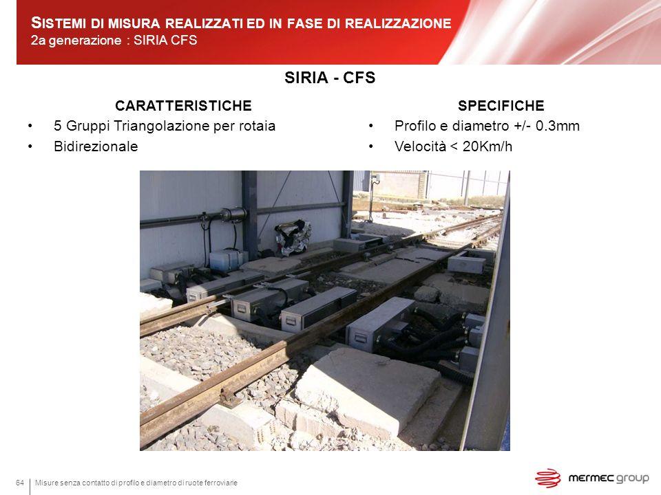 Sistemi di misura realizzati ed in fase di realizzazione 2a generazione : SIRIA CFS