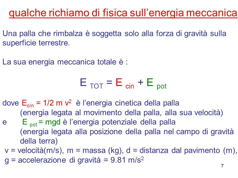 qualche richiamo di fisica sull'energia meccanica