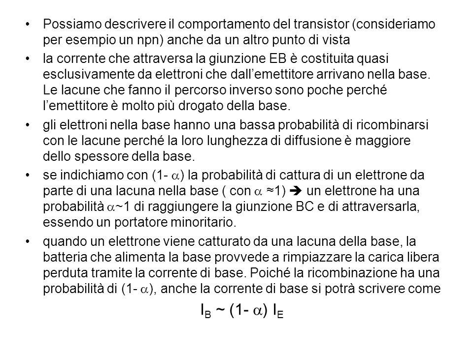 Possiamo descrivere il comportamento del transistor (consideriamo per esempio un npn) anche da un altro punto di vista