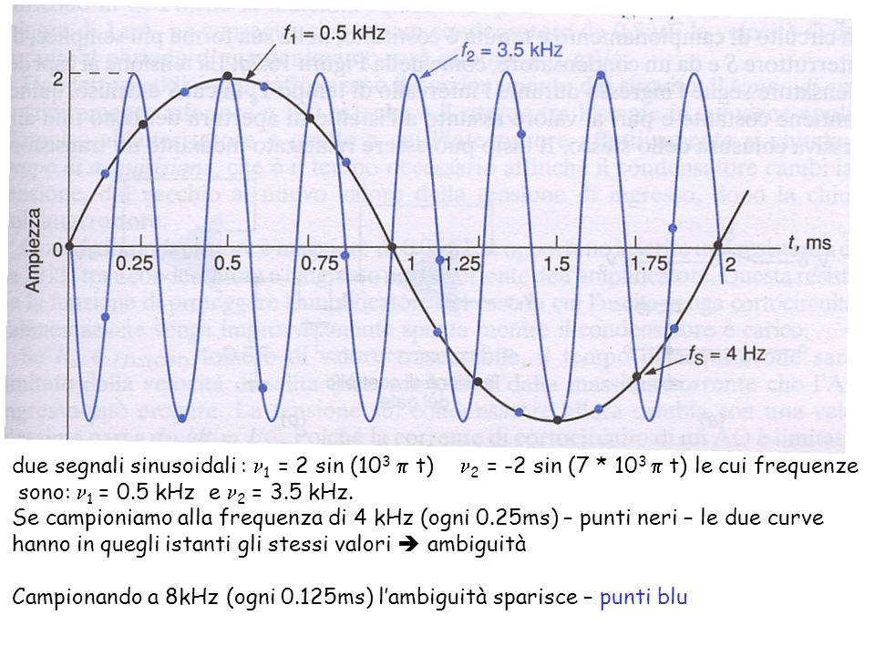 due segnali sinusoidali : n1 = 2 sin (103 p t) n2 = -2 sin (7