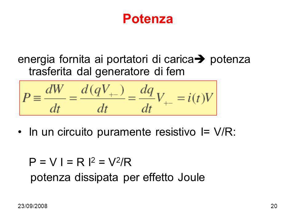 Potenza energia fornita ai portatori di carica potenza trasferita dal generatore di fem. In un circuito puramente resistivo I= V/R: